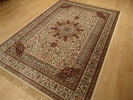 Silk Ivory Rug Persian Style Tabriz Rug 5x8 Living Room Rugs 5x7 Ivory  Cream Carpet Area