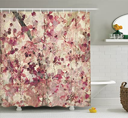 Ambesonne Pink Shower Curtain Antique Decor By Grungy Effect Cherry Blossoms On Ribbed Bamboo Retro
