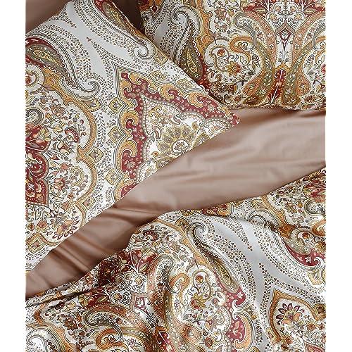 Tahari Home 3pc Duvet Cover Set Paisley Medallion Silver: Moroccan Duvet Sets: Amazon.com