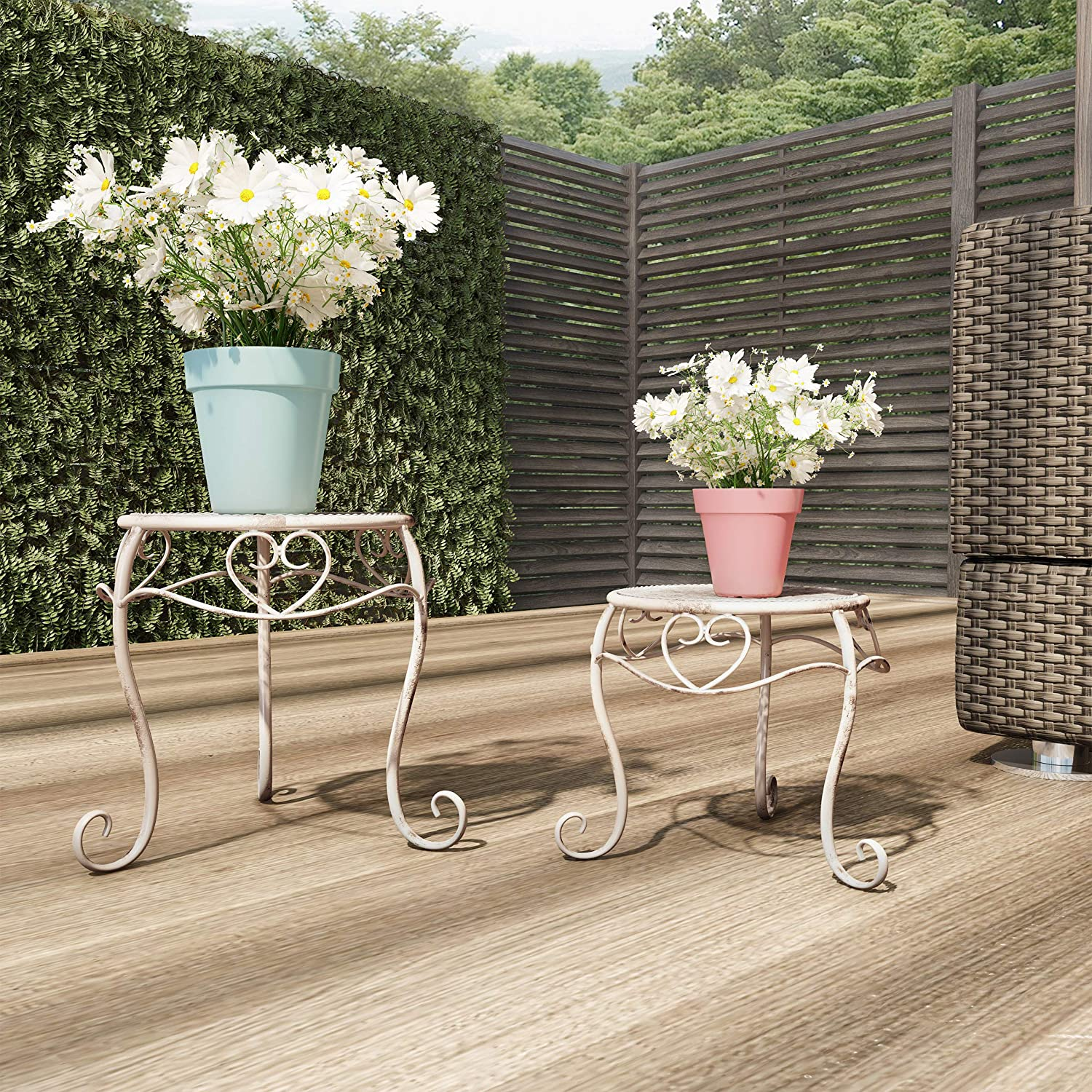 Pure Garden 50-LG1160 Stands – Set of 2 Indoor or Outdoor Nesting Wrought Iron Metal Round Decorative Potted Plant Display Accessories (Antique White)