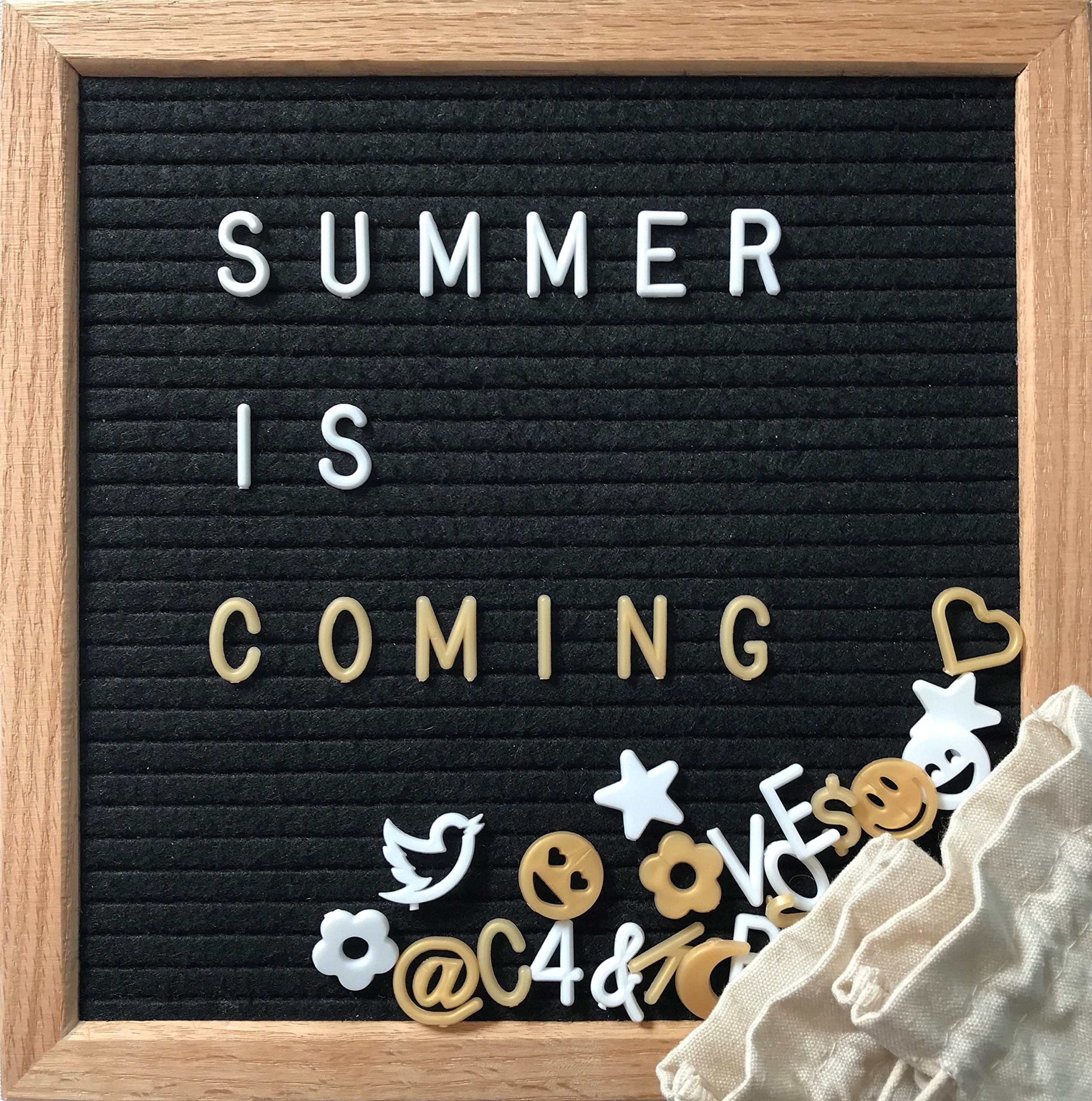 Black Felt Letter Board 10x10 Inches. Changeable Letter Board SUPER BUNDLE | 380 Pre-Cut WHITE & GOLD Letters, Numbers, Emojis | Wooden Oak Frame, Wall Mount, BONUS Stand & 2 FREE Storage Bags.
