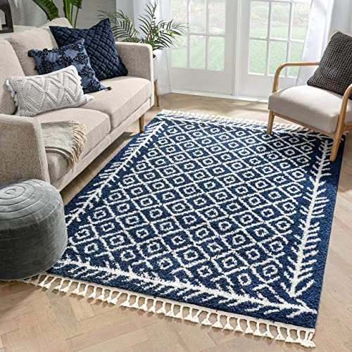 Well Woven Allie Blue Moroccan Shag Diamond Trellis Pattern Area Rug 8×10 7'10″ x 9'10″