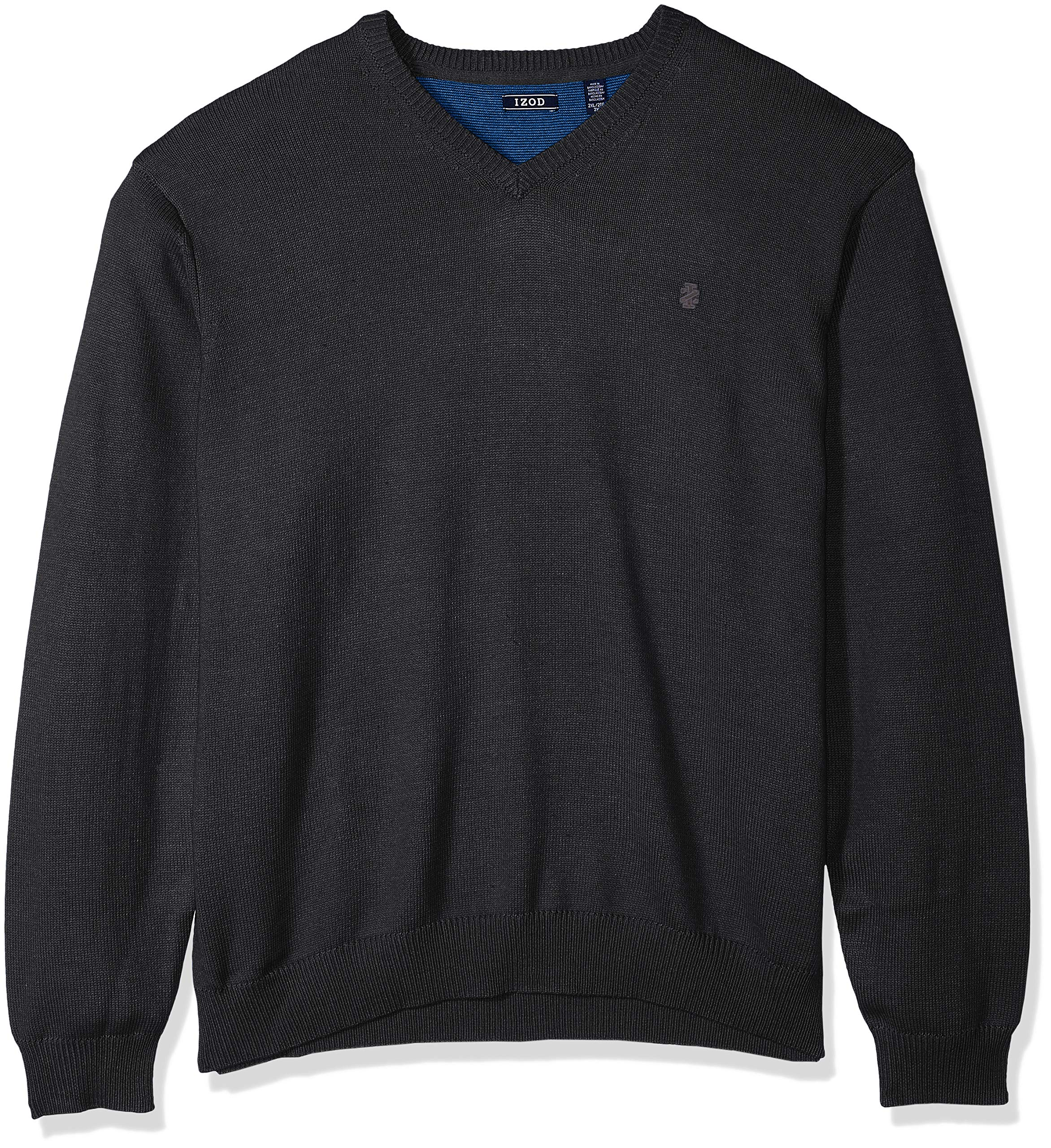 IZOD Men's Big and Tall Fine Gauge Solid V-Neck Sweater, NES Asphault, 3X-Large