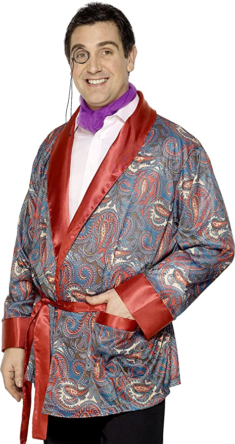 1930s Men's Costumes: Gangster, Clyde Barrow, Mummy, Dracula, Frankenstein  Paisley Design Smoking Jacket $36.44 AT vintagedancer.com
