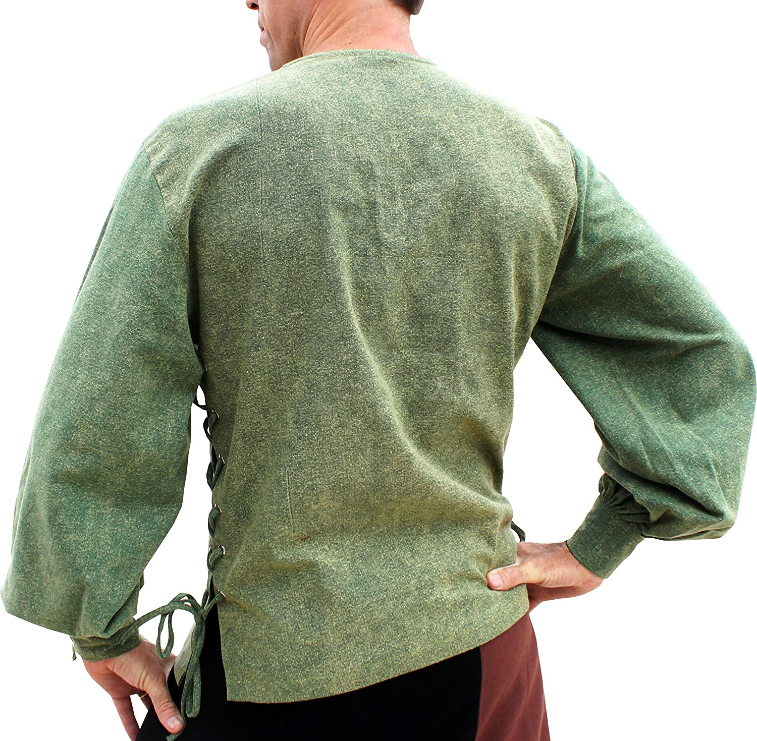 Quality Cotton Button Sleeve Medieval Pirate Shirt Stonewash Teal Green