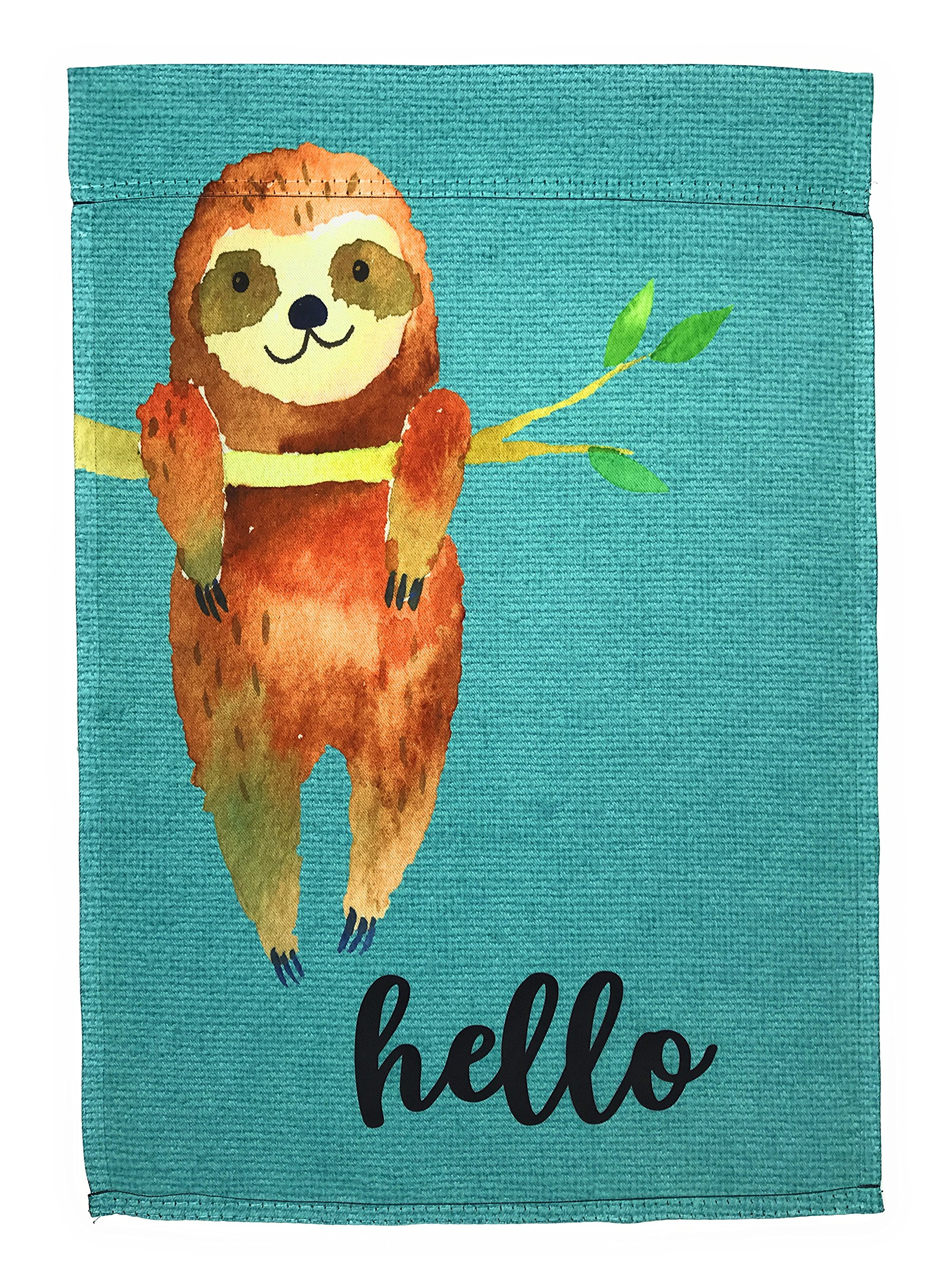 Lantern Hill Garden Flag 12 inches by 18 inches Double Sided Reads Correctly Both Sides (Cute Hello Sloth)