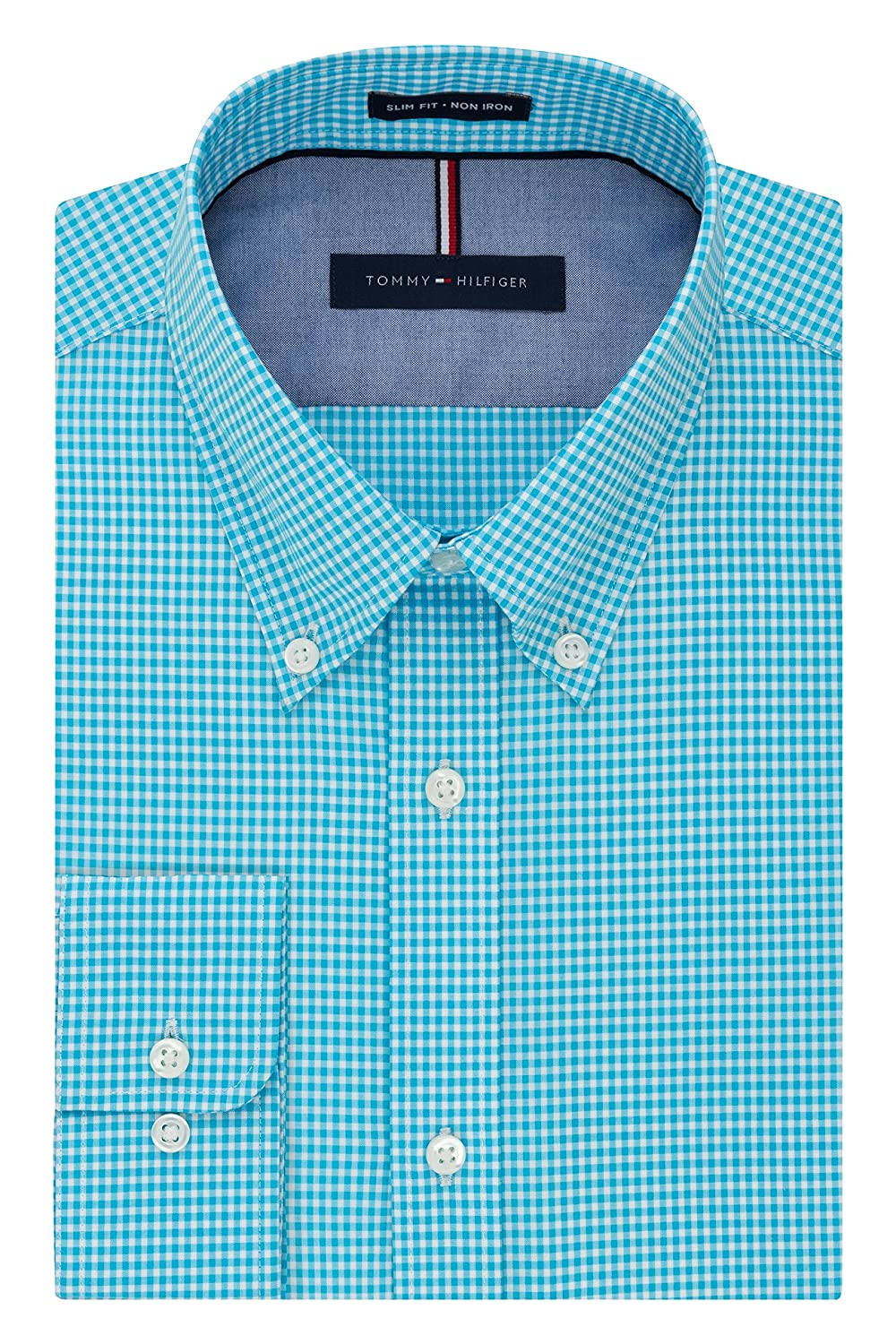 d65b17cb Tommy Hilfiger Men's Non Iron Slim Fit Gingham Buttondown Collar Dress Shirt  at Amazon Men's Clothing store: