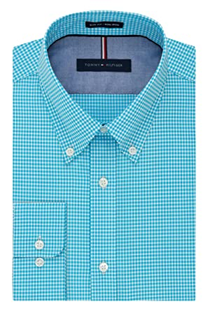 Tommy Hilfiger Men s Non Iron Slim Fit Gingham Buttondown Collar Dress Shirt 99abc3e8a