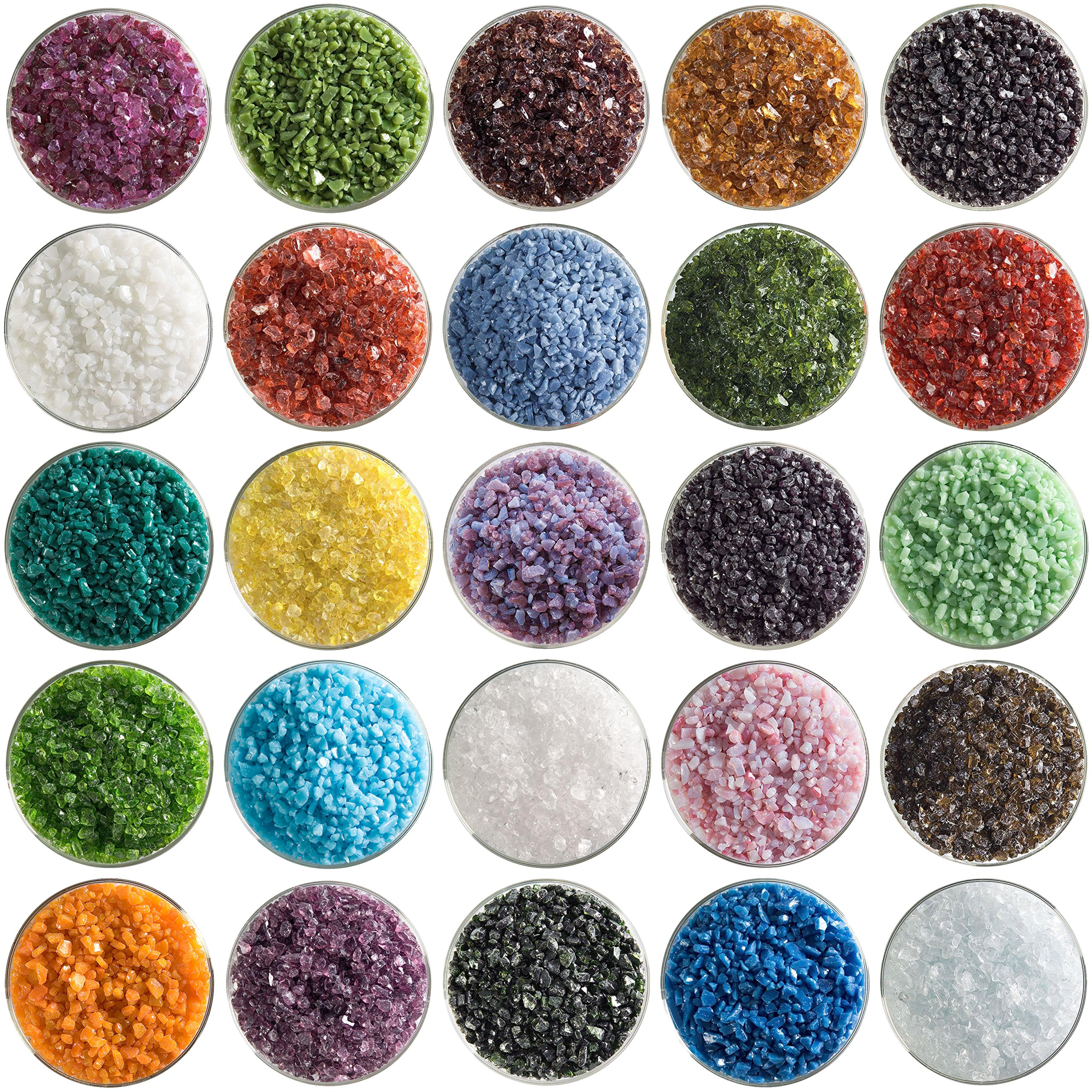 Super Mega Fusible Glass Coarse Frit Sampler Pack Number 1 - 25 Colors, 90 COE - Made From Bullseye Glass by New Hampshire Craftworks
