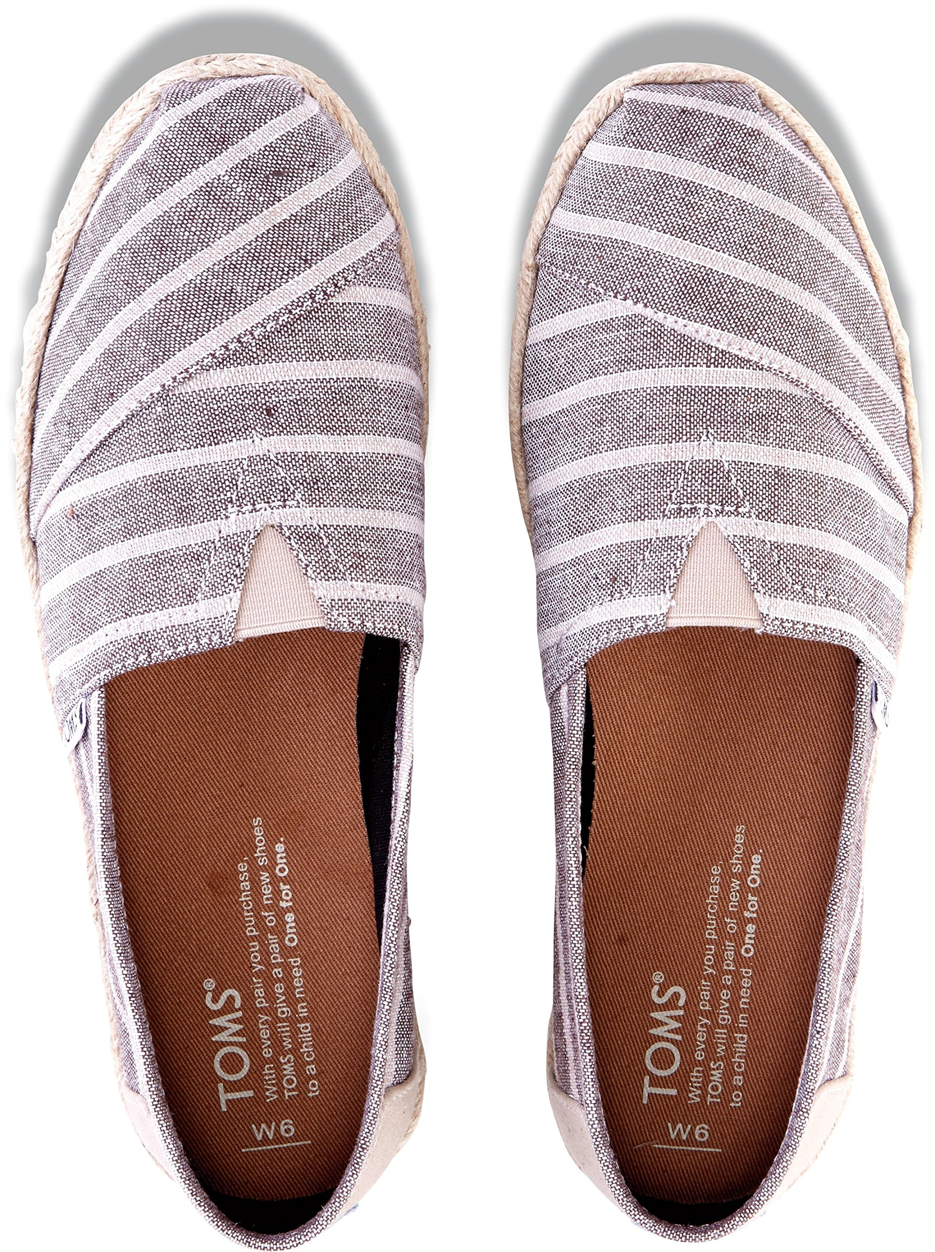 TOMS Womens Classic Slip On Canvas Square Toe, Brown, Size 9.0