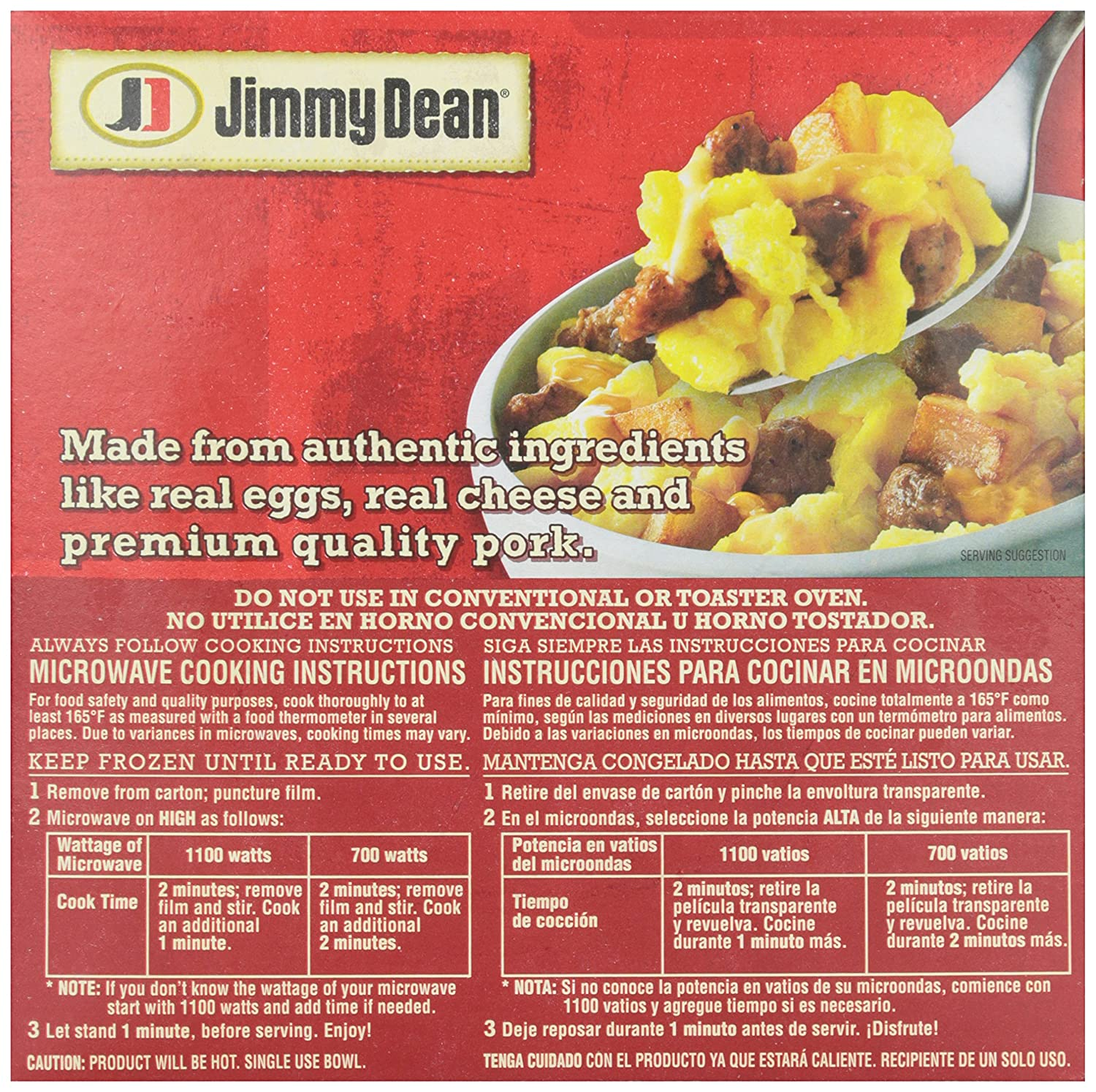 Jimmy Dean, Sausage Egg and Potatoes Breakfast Bowl, 7 oz (frozen): Amazon.com: Grocery & Gourmet Food