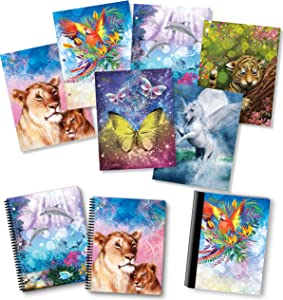 NEW GENERATION – Animals Fantasy 2 Pocket Folders, Heavy Duty Fashion Durable 6 Assorted Animals Designs School Folders,Set Included with1 Composition Notebook, 2 Spiral Notebooks - 9 Pack