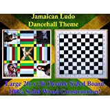 Jamaican Ludo (Dancehall Theme) + Checkers | 2ft x 2ft Double Sided Game Board + Game Pieces & Dice | Family Game Night
