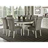 Coastlink Vegas 7 Piece Round To Oval Extension Dining Table Set For 6  (Parsons Chairs