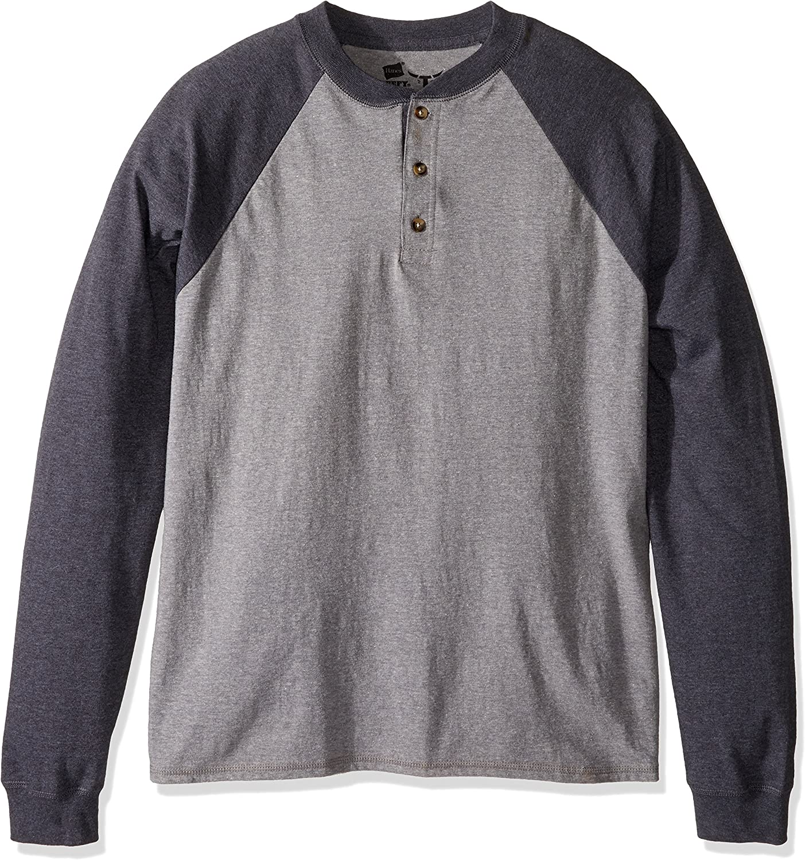 Hanes mens Long Sleeve Beefy Henley Shirt