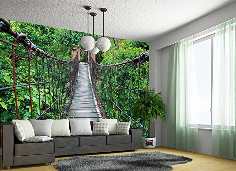 Wall Mural Rope Bridge Mural Nature Adventure Bridge
