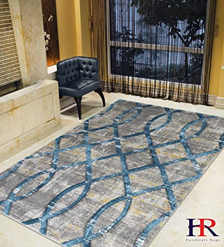 Modern Faded Distressed Geometric Moroccan Diamond Pattern Contemporary Area Rugs Thunder Blue Ash Gray Fossil Ivory Slate Yellow