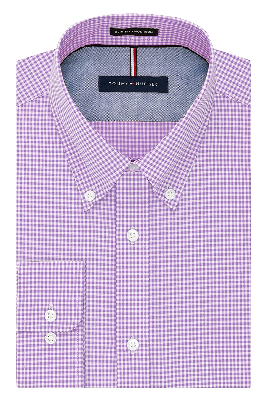 e68ccd28 Tommy Hilfiger Men's Non Iron Slim Fit Gingham Buttondown Collar Dress Shirt  at Amazon Men's Clothing store: