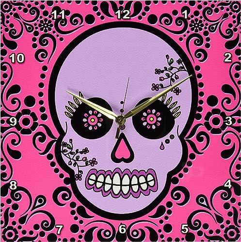 3dRose dpp_28869_2 Day of The Dead Skull Dia De Los Muertos Sugar Skull Purple Pink Black Scroll Design-Wall Clock