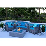 "AKOYA Outdoor Essentials 4 Piece 42"" x 42"" Square Modern Concrete Fire Pit Table in Gray w/Outdoor Patio Furniture Set by (Caribbean Blue)"