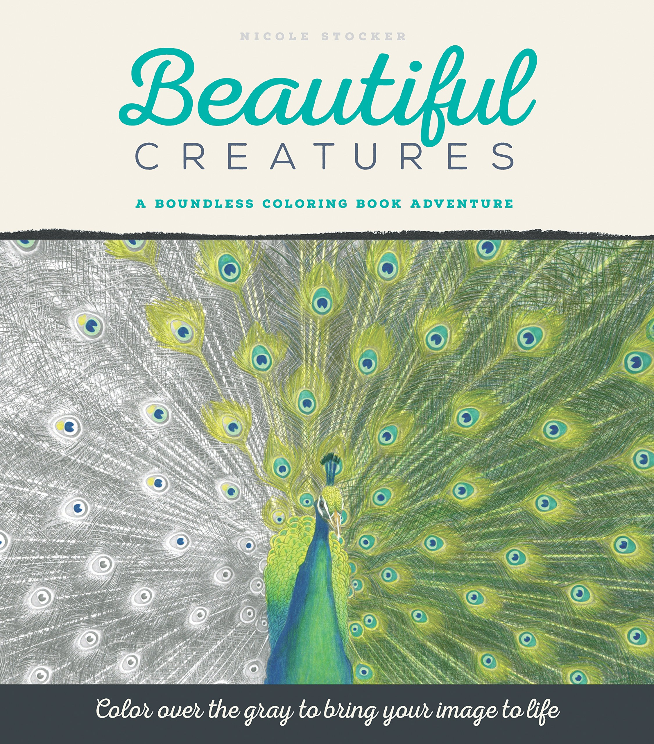 Amazon.com: Beautiful Creatures: A Grayscale Adult Coloring Book of ...