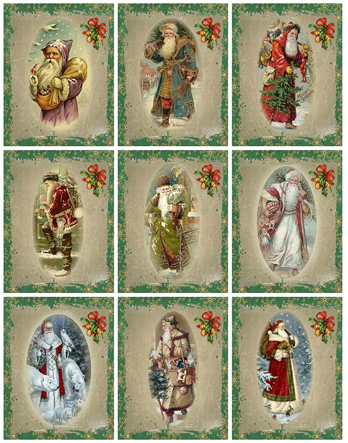 Victorian Images Vintage Santa Christmas Graphics Collage Sheet, Digital Scrapbooking, Prints, ATC, Gift Tags 8.5 x 11 Gift Tags 8.5 x 11 Paper Moon Media