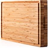 "EXTRA LARGE Organic Bamboo Cutting Board & Thick Butcher Block w/Juice Groove - 17x13x1.5"" Wood Cutting Board, Premium Quality and Professional Design - Antibacterial Bamboo Chopping Block"