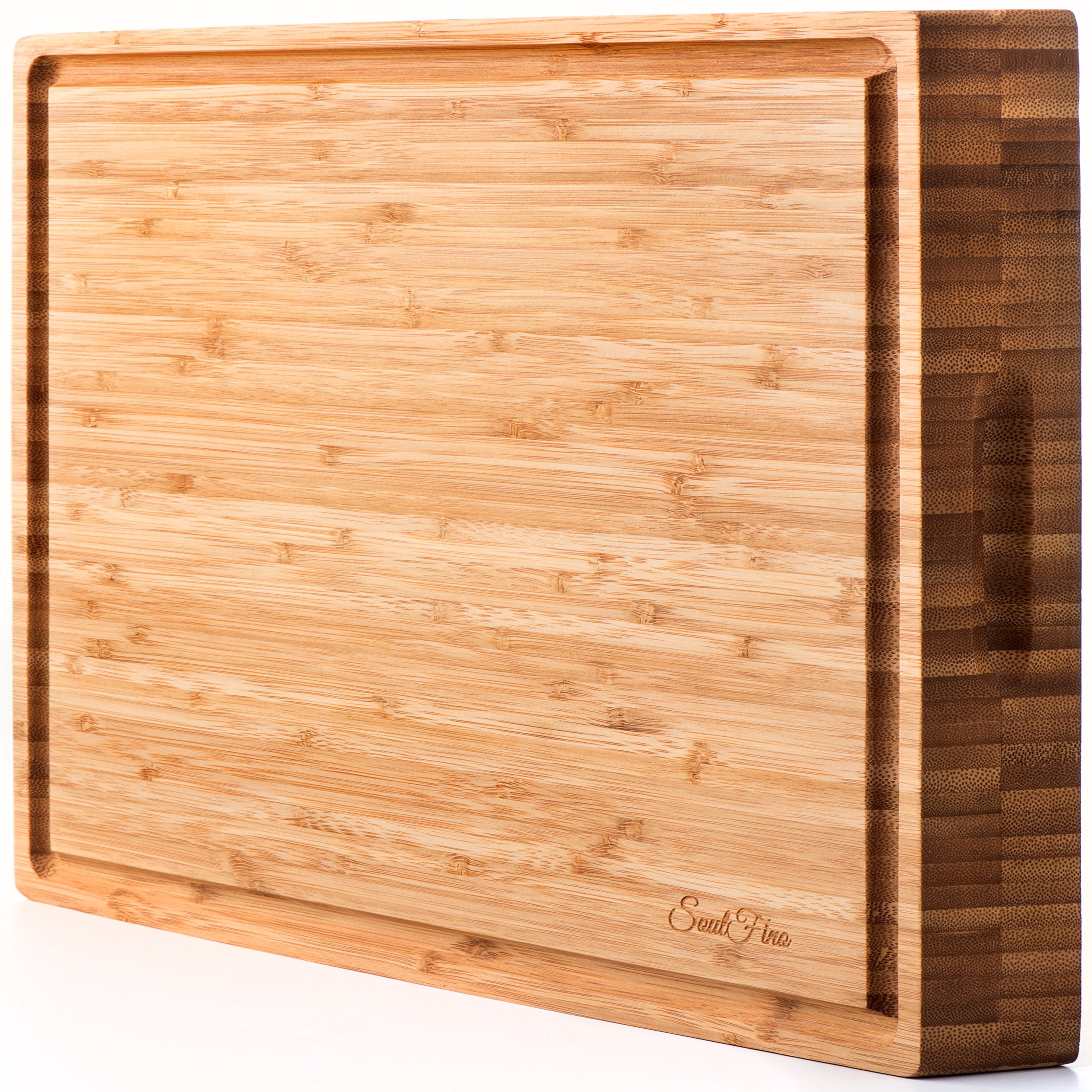 PREMIUM Bamboo Cutting Board & Professional Heavy Duty Butcher Block w/ Juice Groove - Extra Large (17''x13''x1.5'') Antibacterial, Organic, End Grain Chopping Block. Ideal Serving Tray for Meat & Cheese by SoulFino