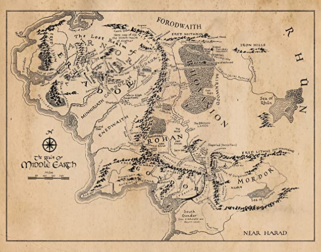 Amazon.com: Map of Middle Earth Vintage Poster Print - Set of 1 (One ...