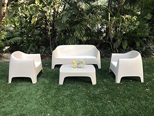SOLID Collection set 4pcs. includes 1 Sofa, 2 Lounge Chairs 1 Coffee table. Indoor Outdoor also stackable. Cushions are additional.