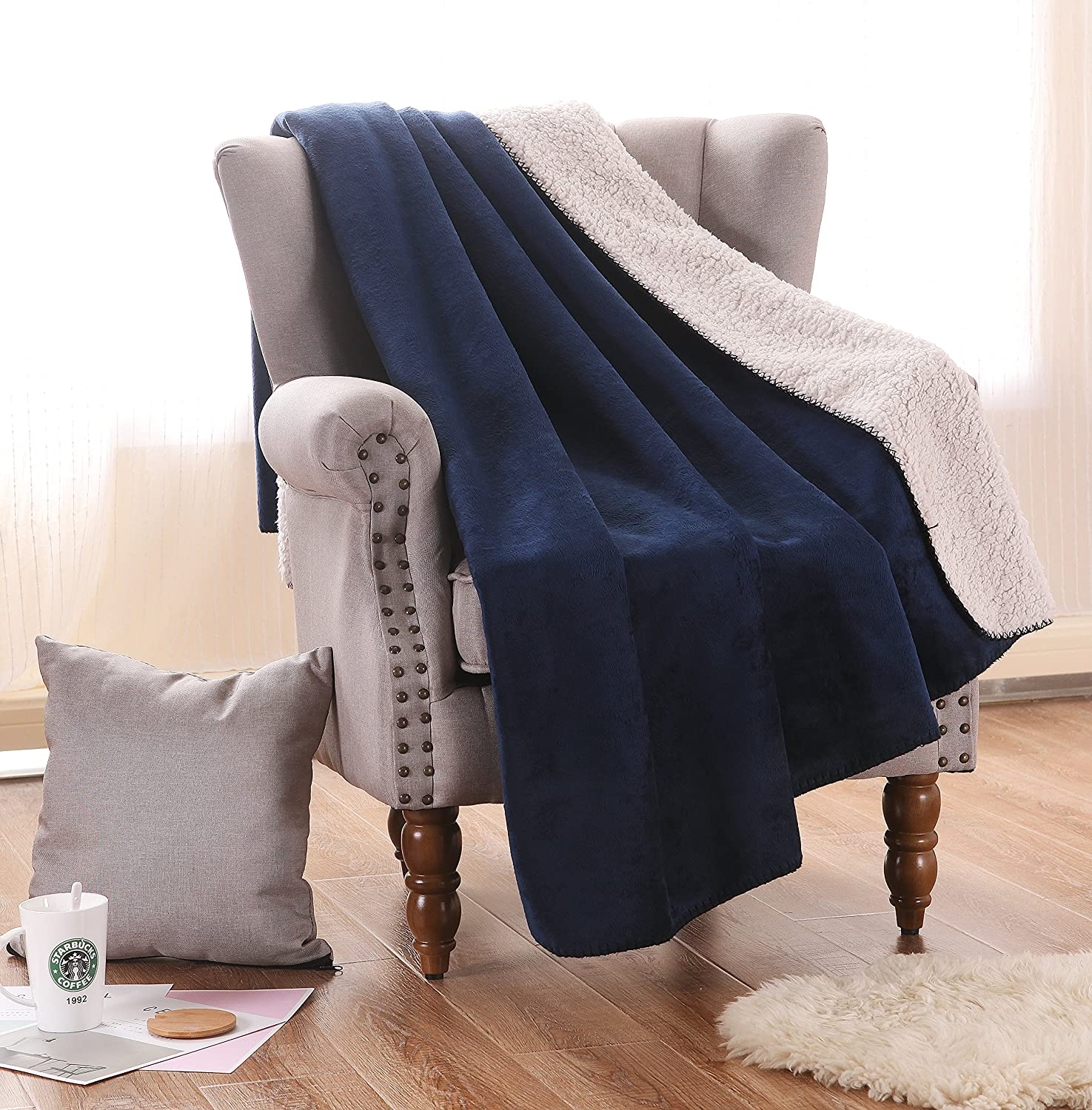 Luxury Reversible Fuzzy Sherpa Throw Blanket, Soft and Cozy Dark Blue by Exclusivo Mezcla