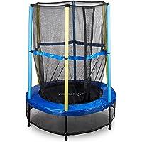 Relaxdays Trampoline pour enfant avec filet de sécurité sport loisirs saut usage extérieur HxlxP: 172 x 143 x 143 cm, bleu-noir-jaune