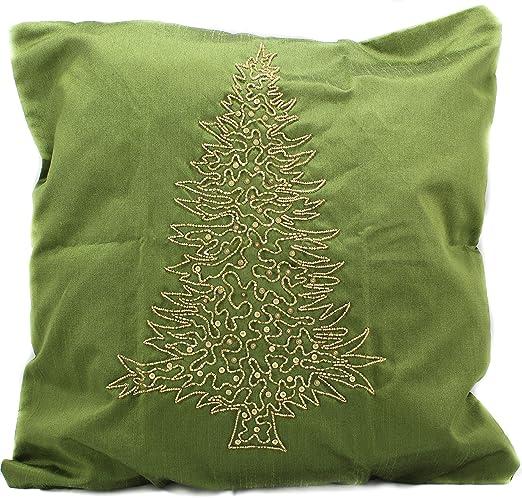 Fundas de cojín verde con diseño navideño de pino dorado ...