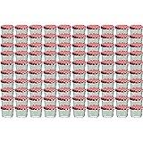 Cap+CroTo 82 Lot de 100 bocaux en verre pour conservation de confiture Couvercles rouges à carreaux Capacité 230 ml