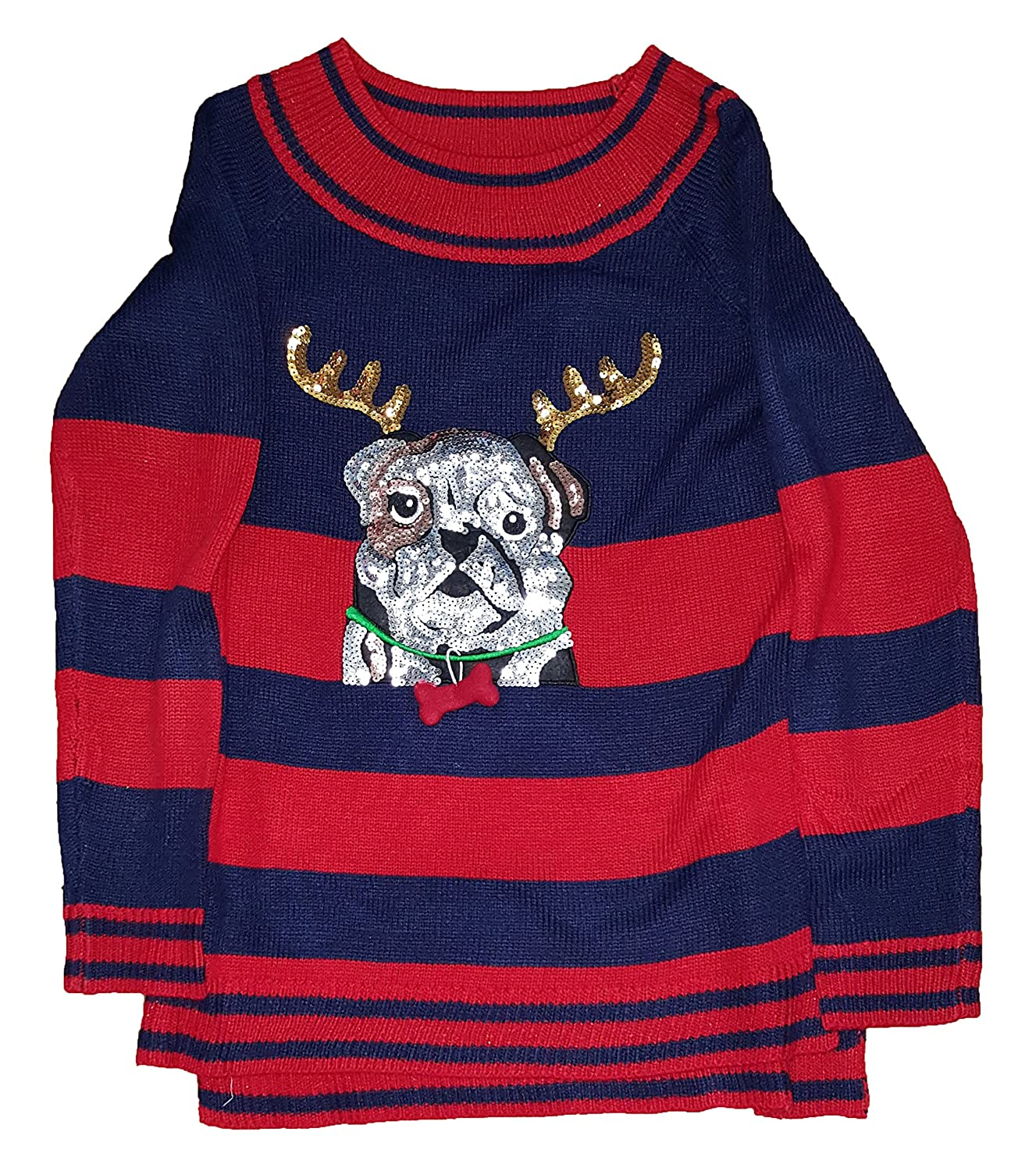 holiday time christmas bulldog reindeer sequin pullover sweater
