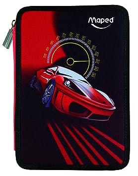 Maped Cars - Plumier con 34 piezas, dos pisos, color rojo y negro: Amazon.es: Oficina y papelería