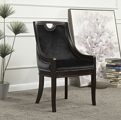 Astonishing Iconic Home Owen Neo Traditonal Velvet Nailhead Dining Side Chair Black Andrewgaddart Wooden Chair Designs For Living Room Andrewgaddartcom