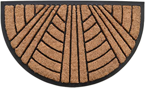"MILLIARD Decorative Sunburst Coco Fiber Semi-Sphere Heavy Duty 18""x30"" Doormat"