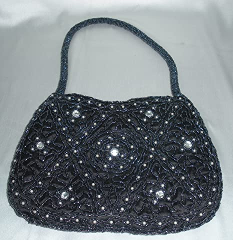 Desconocido indian Zardozi bordado mujer negro perla bolsa ...