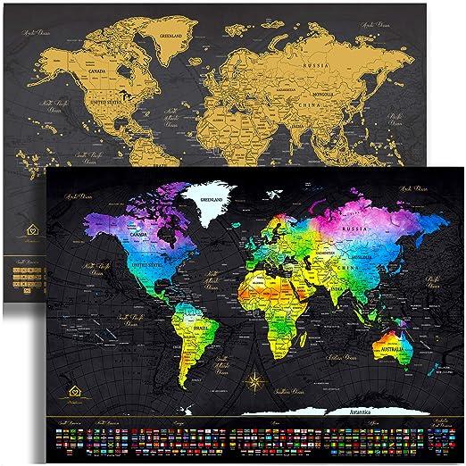 Mapa del mundo rascando mapa del mundo (24 x 17) – Exclusivo oro y ...