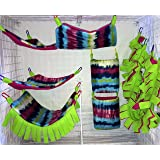 8 Piece Hammock Set For Rats, Sugar Gliders, Ferrets, or Other Small Pets - Featuring Tie-Dye Stripe Print Fleece