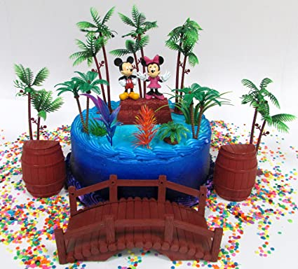 Disney 15 Piece Mickey and Minnie Mouse Tropical Themed Birthday Cake Topper