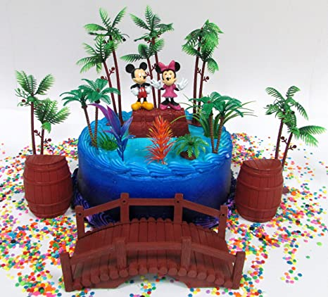 Mickey Mouse Clubhouse Tropical Hulu Themed And Minnie Birthday Cake Topper Set With Figures