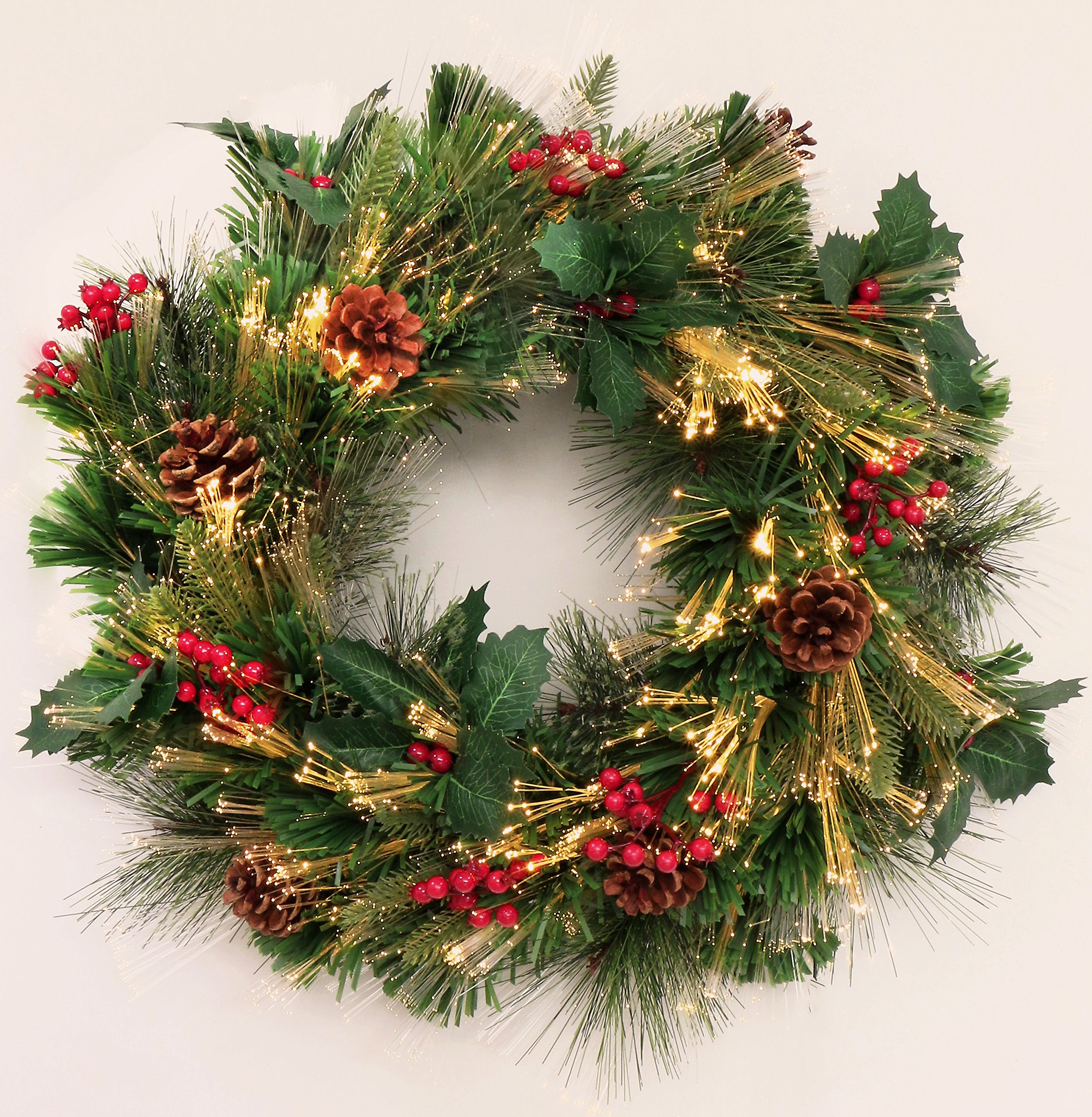 Holiday Favor LED Fiber Optic Christmas Wreath Decorated with Pine Cones and Red Barries (24in, Wreath/Plug-in)