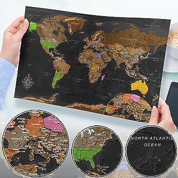 Murando Rubbelweltkarte Schwarz Weltneuheit Weltkarte Zum
