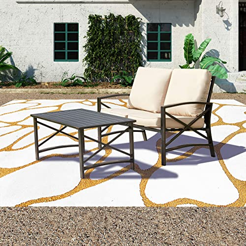Patio Festival 2 PCS Patio Furniture Set,Metal Outdoor Patio Conversation Sectional