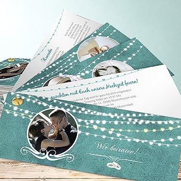 Ausgefallene Hochzeitseinladungen Lichterkette 40 Karten