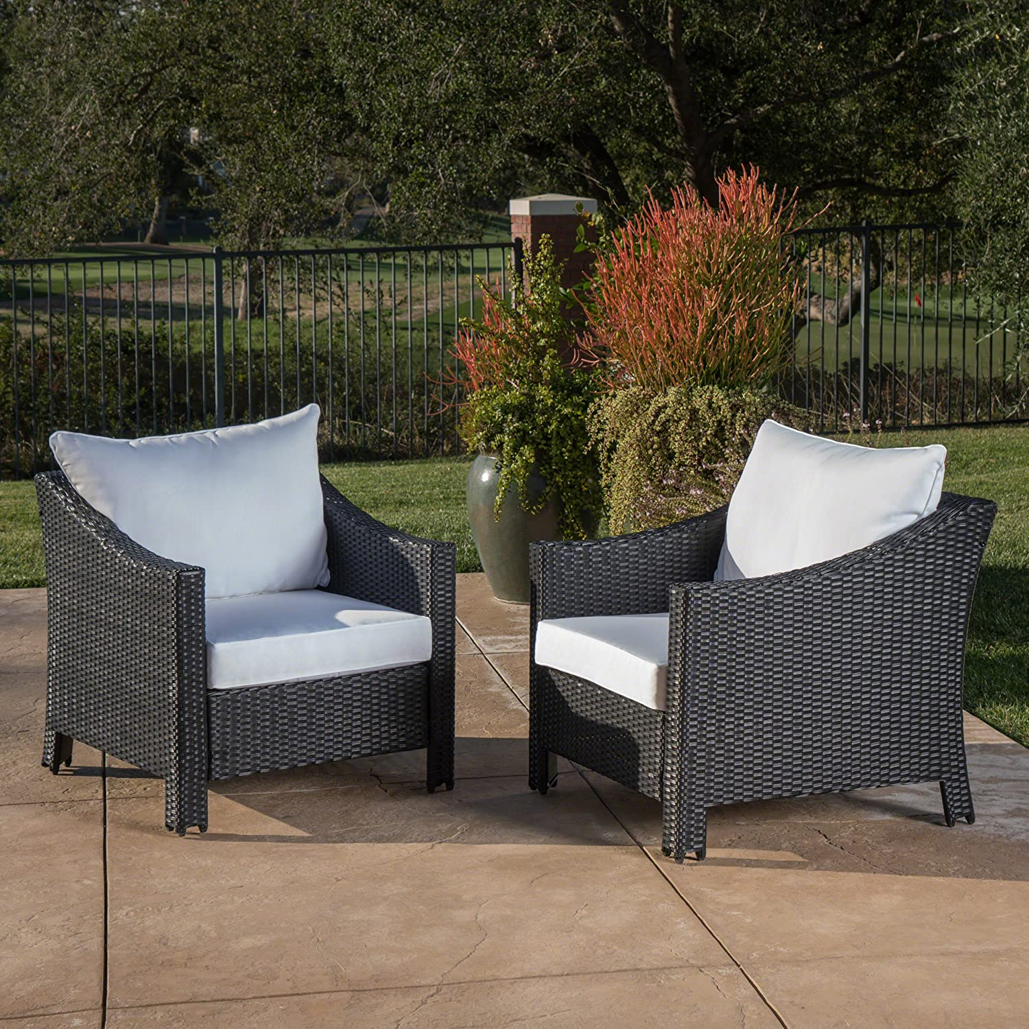 Great Deal Furniture Stonewell Outdoor Black Wicker Club Chairs with White Water Resistant Cushions Set of 2
