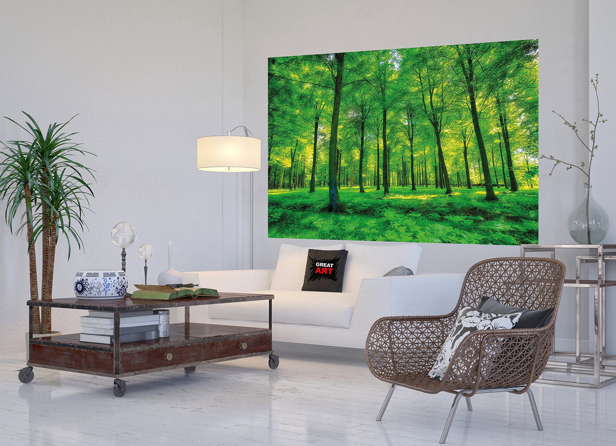 GREAT ART Wallpaper Trees Forest – Nature Wall Photo Decoration Natural Landscape Poster Summer Relax Sun Plants Flora Mural (82.7x55 Inch) by Great Art (Image #7)