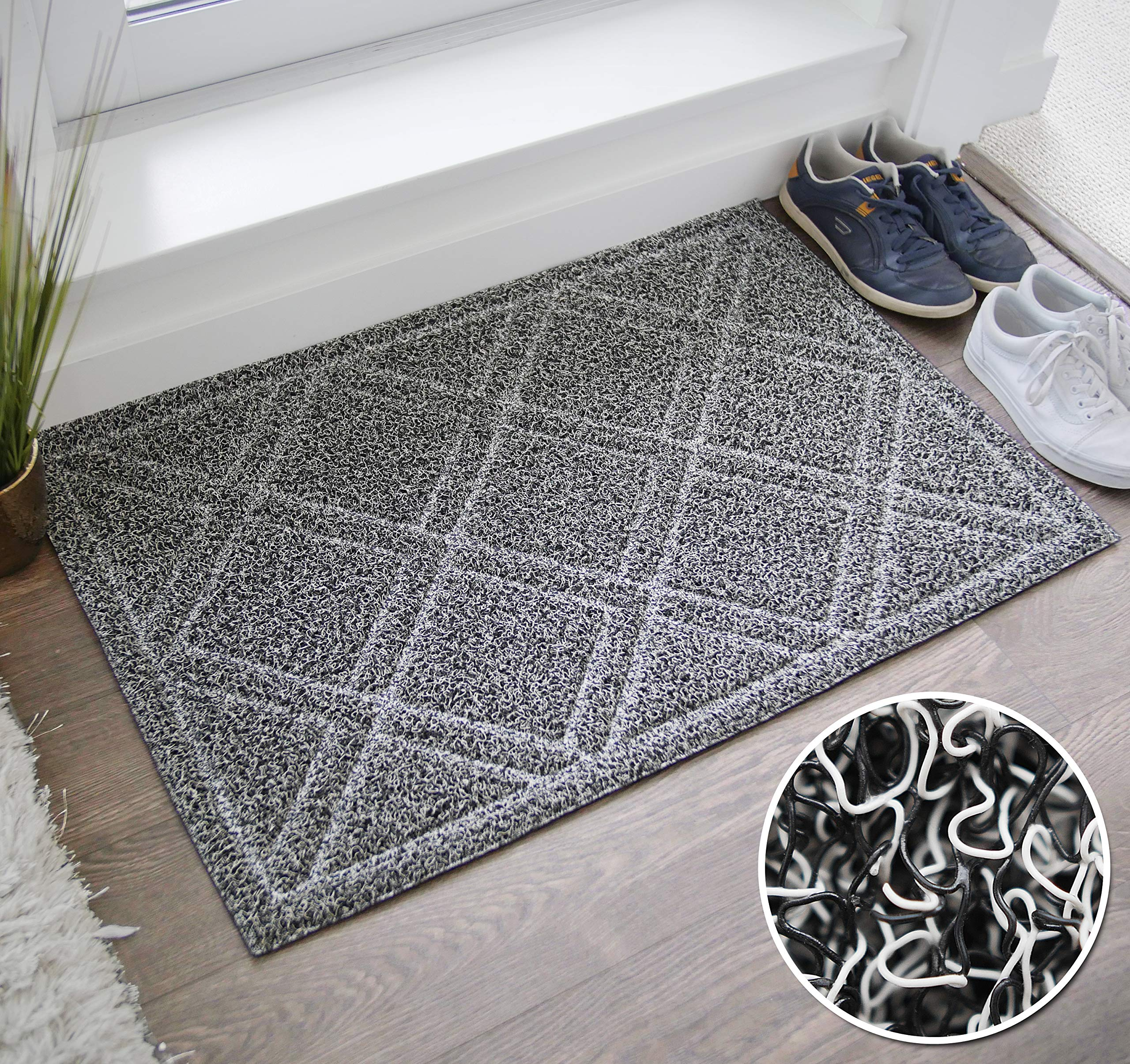 BrigHaus Large Indoor/Outdoor Doormat | 24 x 35 | Non Slip Heavy Duty Front Entrance Door Mat Rug, Outside Patio, Inside Entry Way, Catches Dirt Dust Snow & Mud - Black/White